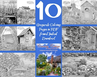 "Coloring Pages from Adult Coloring book ""Country Cottage Backyard Gardens 1"". Grayscale Instant download printable. PDF 10 A4 coloring pages"