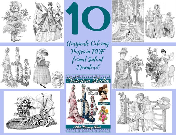 Coloring Book Victorian Ladies Fun Fashion Pages