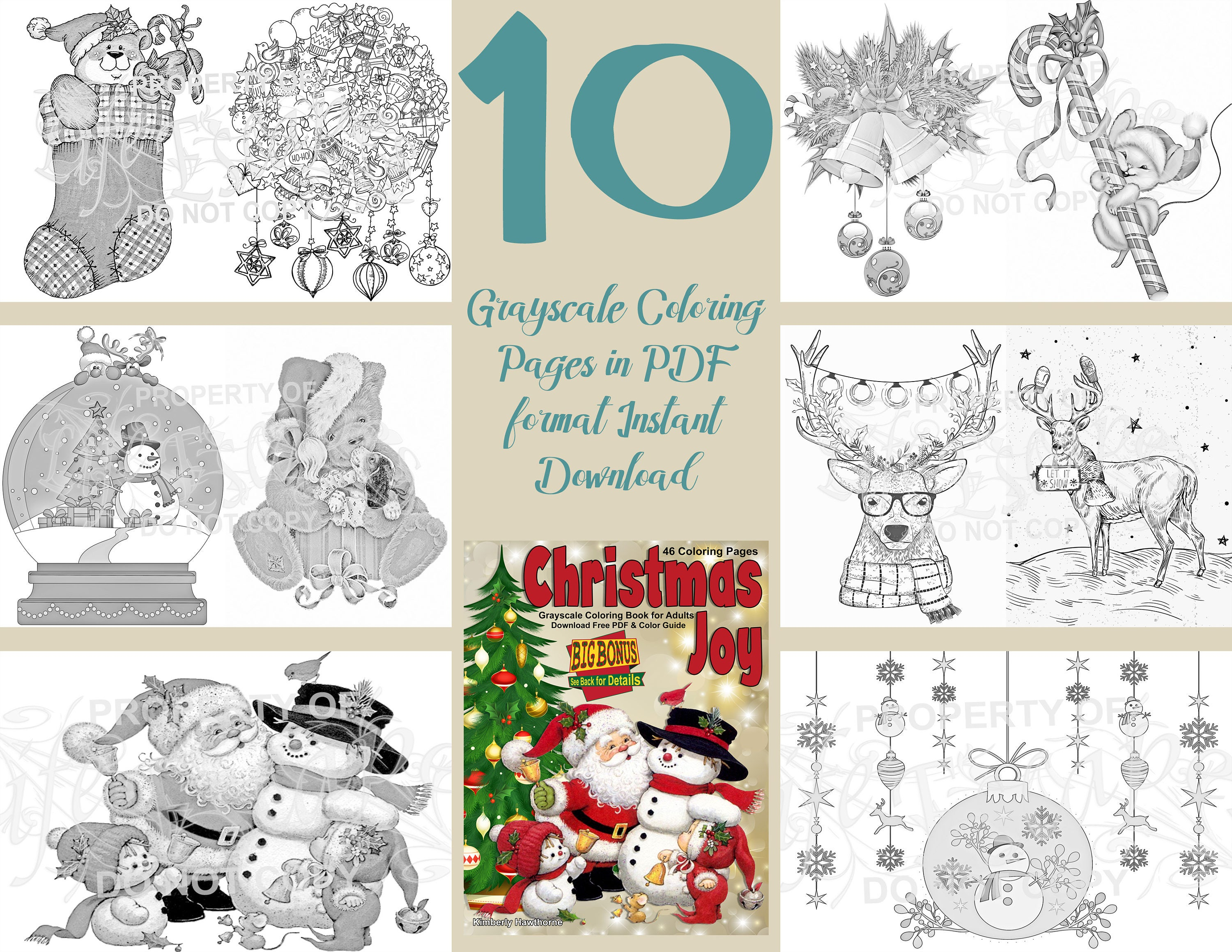 Coloring Book Christmas Joy Coloring Pages For Adults Grayscale Instant Download Printable Pdf 10 A4 Coloring Pages