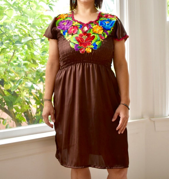 Fancy Nikte Dress Brown Silk