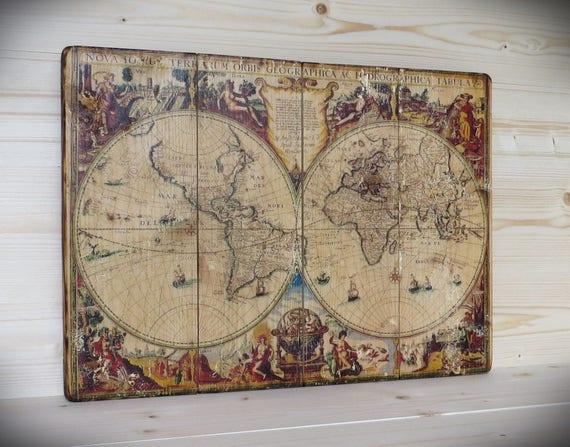 Carte Du Monde Sur Bois.Carte Du Monde Sur Bois Decor Carte Sur Bois Globe Terre Etsy