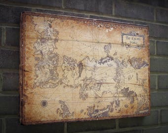 Game Of The Thrones Map, The Known World,Rustic Wall Decor, Printed Wood Photo, Image Tranfer on Wood,