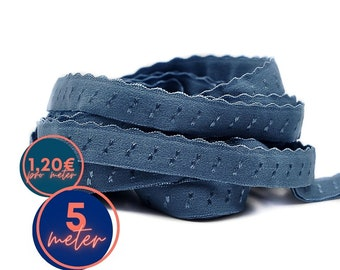 5 m folding rubber SPITZE - Blue JEANS WASHED - already folded (1,20eur/meter)