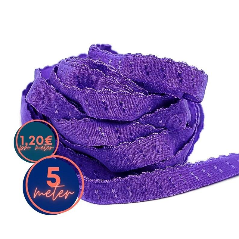 5 m folding rubber SPITZE  Purple INDIGO  already folded image 0