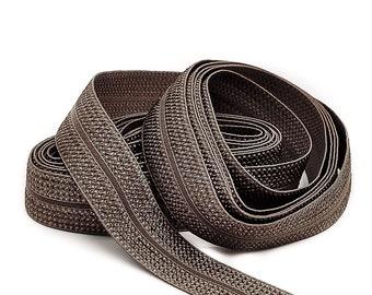 3 m folding rubber JACQUARD - TAUPE dark - 20 mm (1.40 EUR / meter)