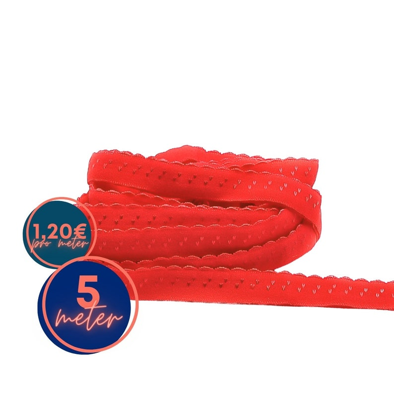 5 m folding rubber SPITZE  red FIRE  already folded 1.20 image 0