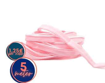 5 m Piping Elastic - Pink BLUSH - 9 mm - matte and glossy (1,25eur/meter)