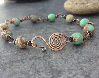 Gem Stone and Copper Link Bracelet - Wire Wrap Link Bracelet - Aqua and Copper Bracelet - B100
