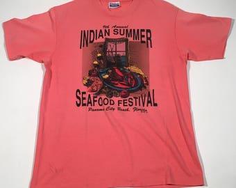 80s vintage seafood festival 50/50 t shirt large