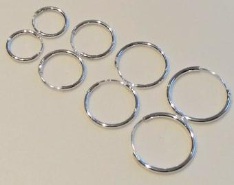 925 Sterling Silver Pair of Endless Hoop Sleeper Earrings Select 11mm to 18mm