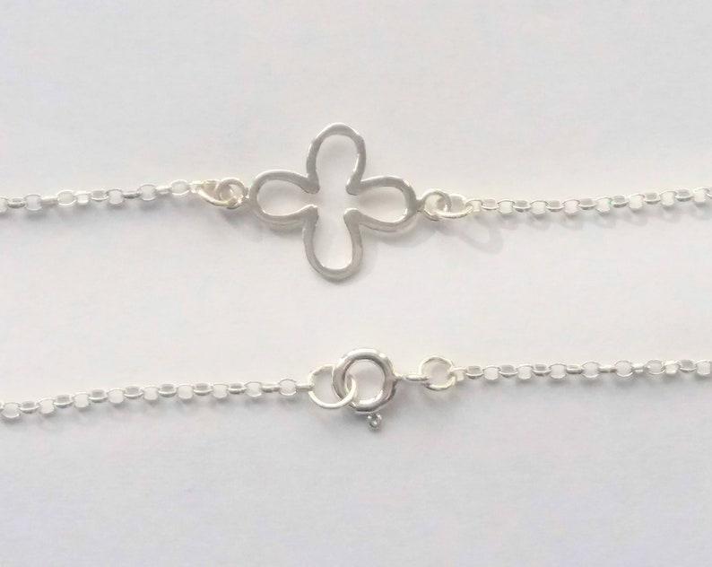 925 Sterling Silver Four Petal Flower Bracelet Anklet Belcher Chain ANY LENGTH 6-12