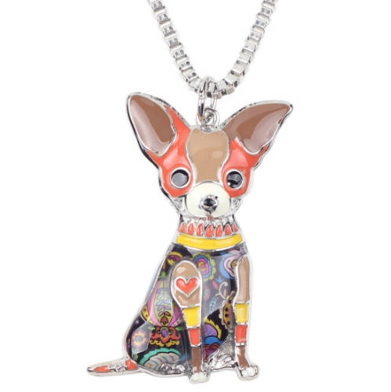 Chihuahua Necklace- Chihuahua Art Chihuahua Figurine- FREE Shipping Chihuahua Watercolor Chihuahua Jewelry