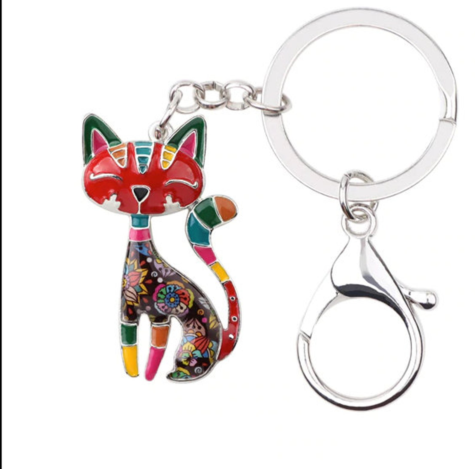 Watercolor Cat Keychain