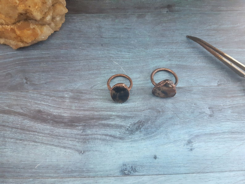 friendship anniversary natural stone for important gift mom gifts partner birthday Particular ring in copper and agate moss