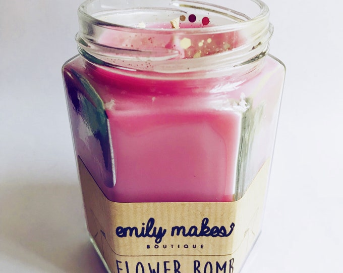 Flower Bomb (Perfume Inspired) Scented Soy Wax Jam Jar Candle / Small & Medium Available / Vegan-Friendly / Gift
