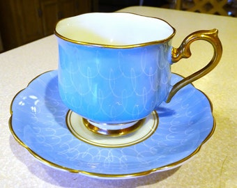 Royal Albert *Footed Tea Cup & Saucer Blue with White Scrolls