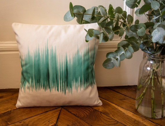 Square cushion velvet printed exclusive Elma - Emerald forest