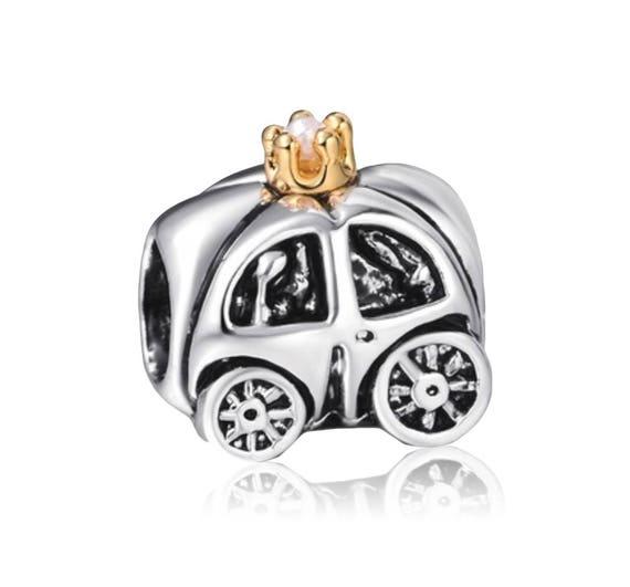 Princess Carriage Black Enamel Gold Plated Clip On Dangle Charm for Bracelets