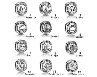 Zodiac Sign Charm, Astrological Signs, Horoscope, Silver Plated Alloy Jewelry Bead, Fits Name Brand Style Charm Bracelets