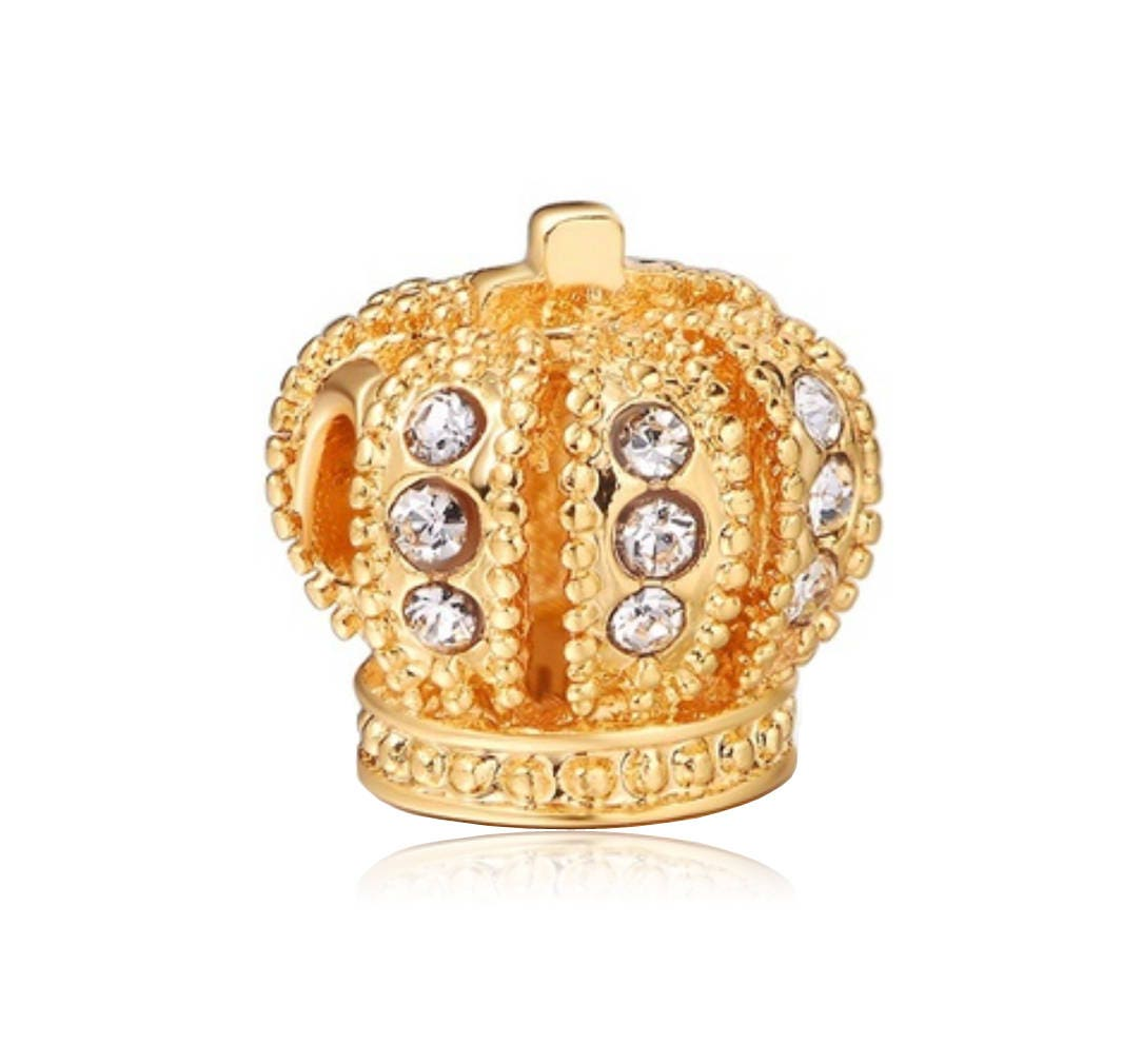 GORGEOUS YELLOW GOLD PLATE RED LOVE CROWN THREADED EUROPEAN BRACELET CHARM BEAD