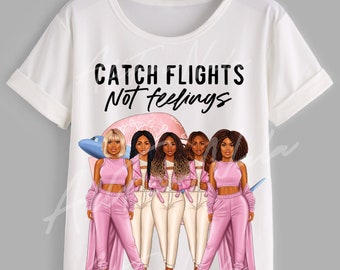 Catch Flights Not Feelings Tee - Pink Bombshells