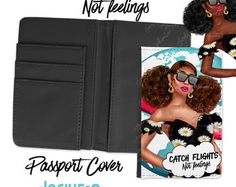 Catch Flight Not Feelings  Passport Cover and Baggage Tag - Jackie O