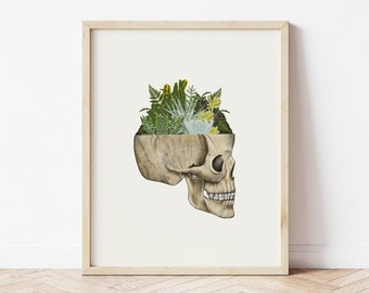Skull Art Print, Anatomical Print, Anatomical Skull, Skull Print, Botanical Print, Terrarium, Skull Illustration,Cactus Decor, Room Decor