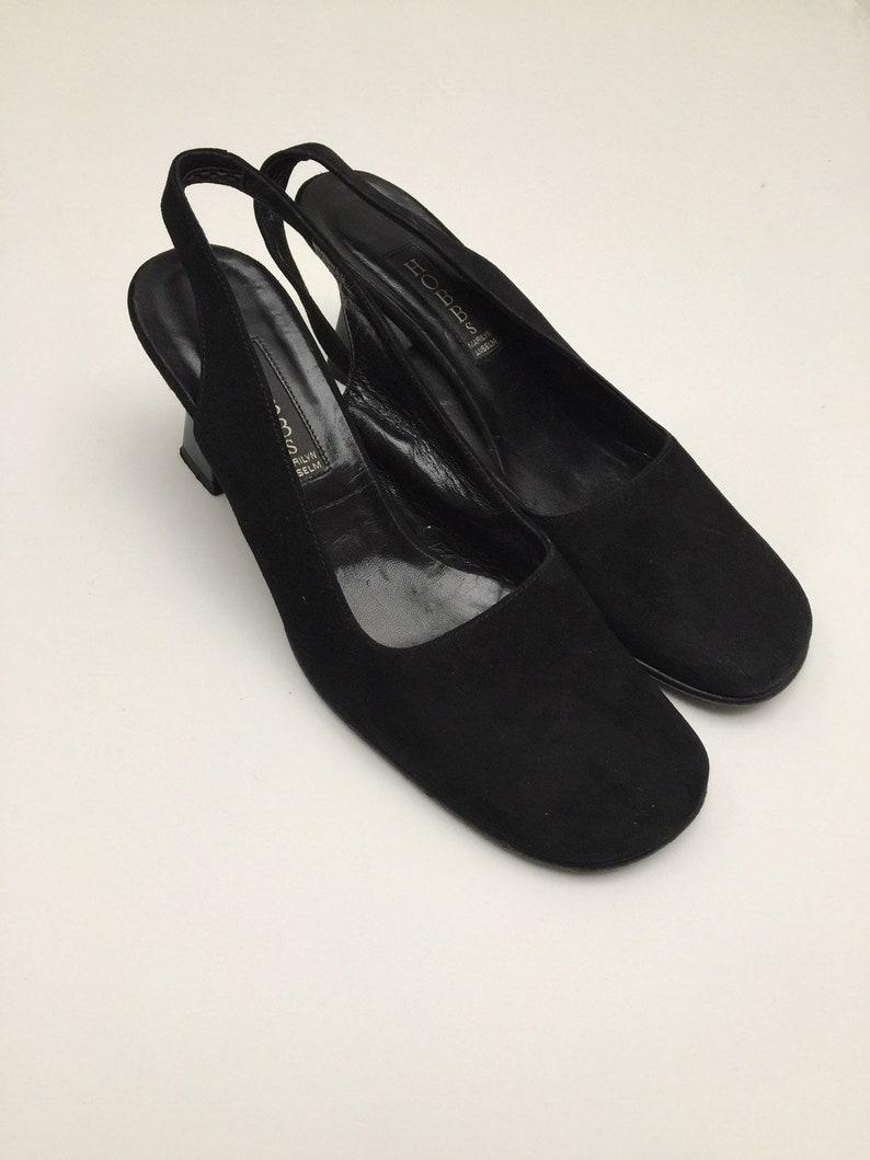8382dc6993825 Hobbs rounded toe kitten heel black suede