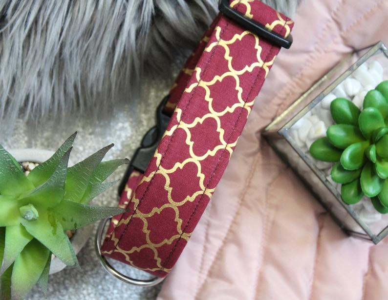 Fleece Lined Wide Moroccan Collar Greyhound Collar Luxurious Burgundy Collar Metallic Gold Collar Heavy Duty Collar Maroon Pet Collar