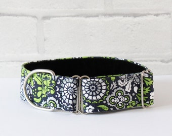 Organic Green Dog Collar, Martingale Greyhounds, Flower & Foliage Dog Collar, Nature Inspired Swirls, Lime Green Dog Collar, Matching Lead