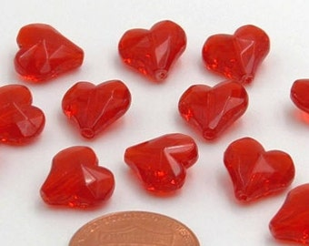 10mm, Translucent Red Hearts, 10mm Red Heart Beads, Acrylic Red Hearts, Heart Beads, 12 pieces