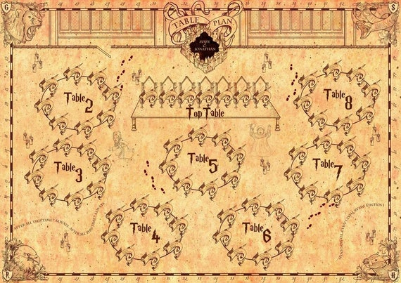Harry Potter Style Marauders Map Inspired Table Seating Plan Etsy