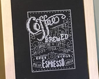 Coffee, Chalk it up, Completed cross stitch