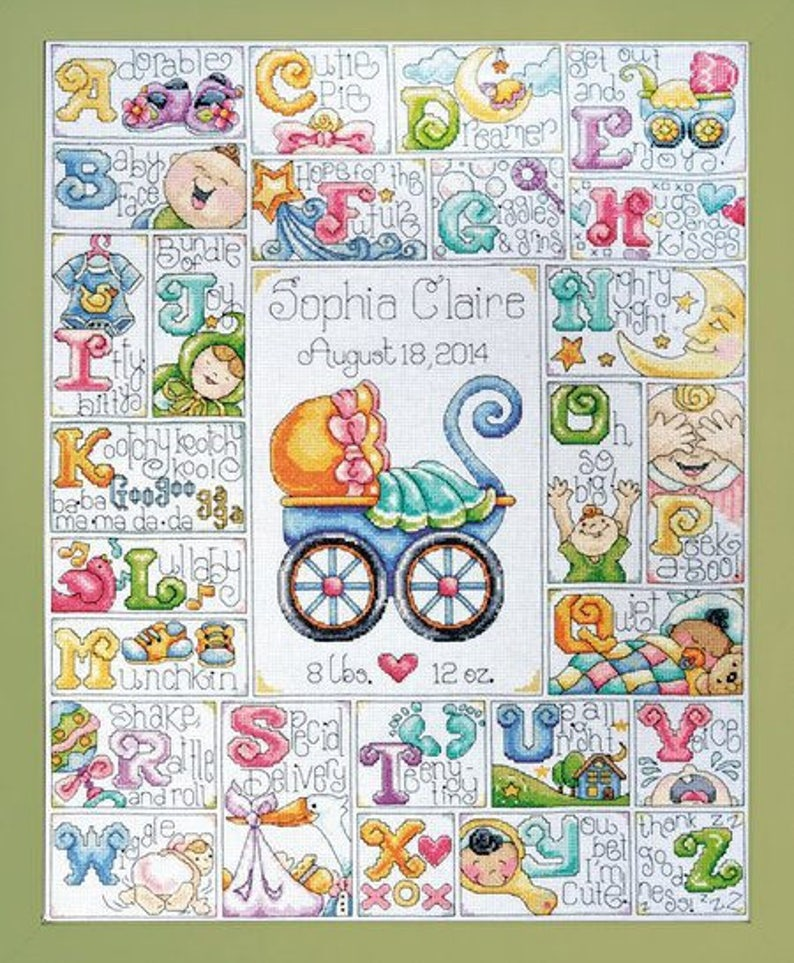 Baby ABC//completed cross stitch//baby birth record//baby image 0