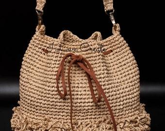 d6a0a3f935629 Raffia Bucket Bag Women Straw Bag Boho Crossbody Bag Natural Summer Bag  Beige Crochet Bag