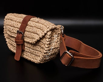 106c3bb3e6c2 Beige raffia waist bag Straw bag with leather belt Natural raffia clutch  Eco friendly boho waist bag Boho accessories Crochet accessories