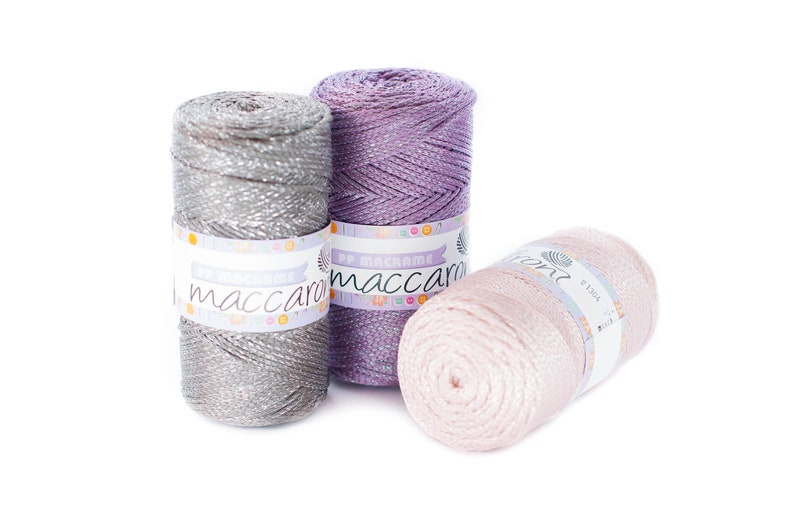 Marengo polyester rope Crochet textile glitter cord Macrame cord 3mm Crochet bag supplies Metallic rope Crochet thread