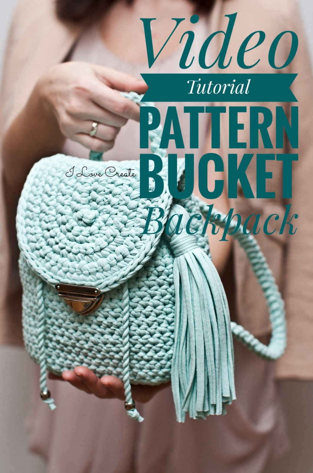 How To Make A Knitted Book Cover ~ Crochet pattern video tutorial crochet backpack crochet etsy