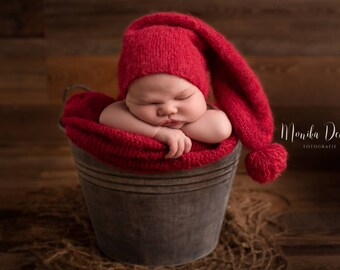 Elf Hat Sleepy Stocking Cap Newborn Sleep Cap NEWBORN Photography Prop Autumn Prop Knit Baby Night Hat Baby Pajama Cap