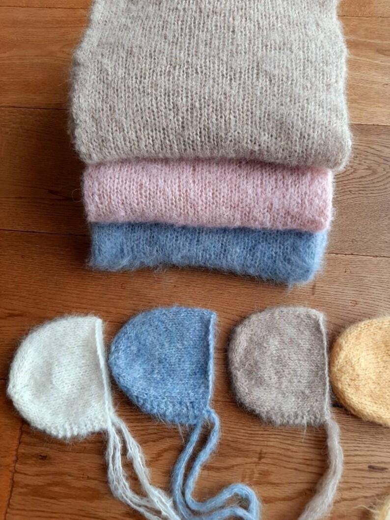 NEWBORN Photo Prop Fuzzy Classic  bonnet and wrap set Knitted Newborn Prop
