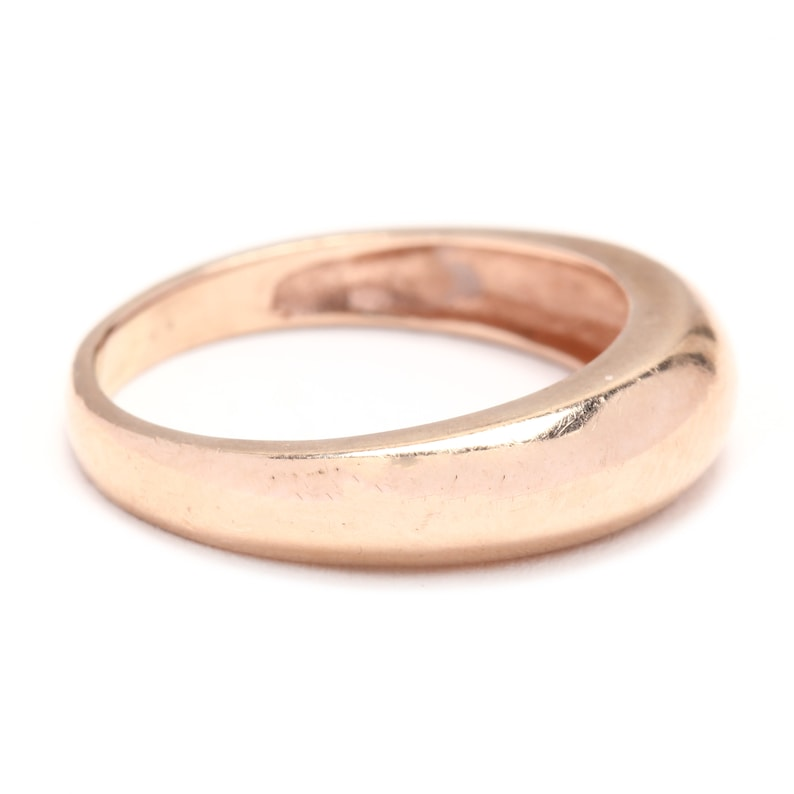 14k Rose Gold Tapered Dome Band