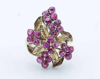Vintage 14K Yellow Gold Ruby Cluster Leaf Ring