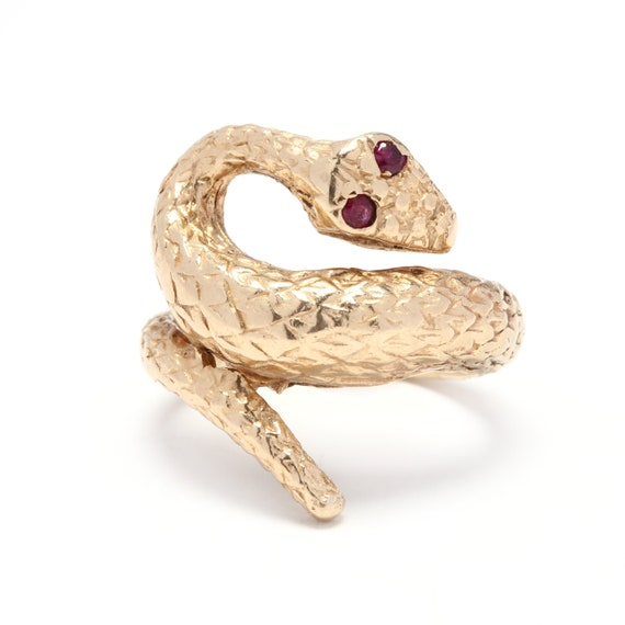 14K Yellow Gold & Ruby Textured Snake Ring