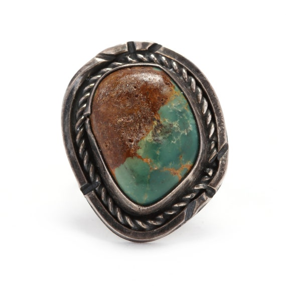 Circa 1970's Silver & Turquoise Ring, Boho Ring, V