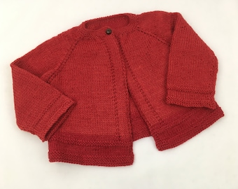 Finely Knit Red Baby Cardigan