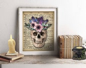 Crystal Skull, Dia De Los Muertos, Wicca, Macabre, Gothic Home Decor, Horror, Wall Art, Skull Candle, Human Skull, Wicca Decor, Witch Decor