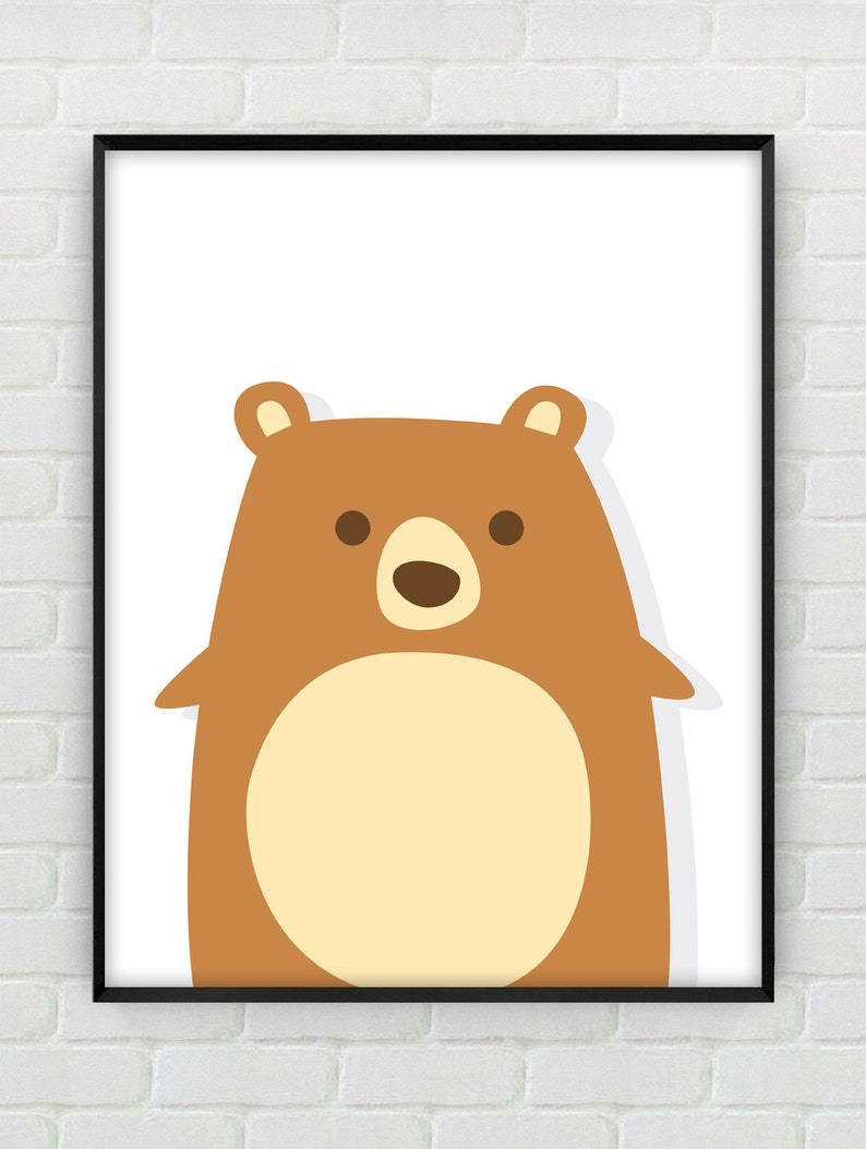 e405b35d7074a Cute Bear Nursery Art, Brown Bear Print, Bear Wall Art, Bear Art Decor,  Nursery Animal Art, Brown And Yellow Nursery Print, Art For Baby