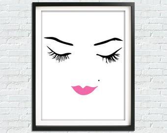 Makeup Print, Makeup Wall Art, Fashion Print, Pink Prints, Pink Makeup, Makeup Art, Fashion Illustration, Fashion Poster, Makeup Vanity Art