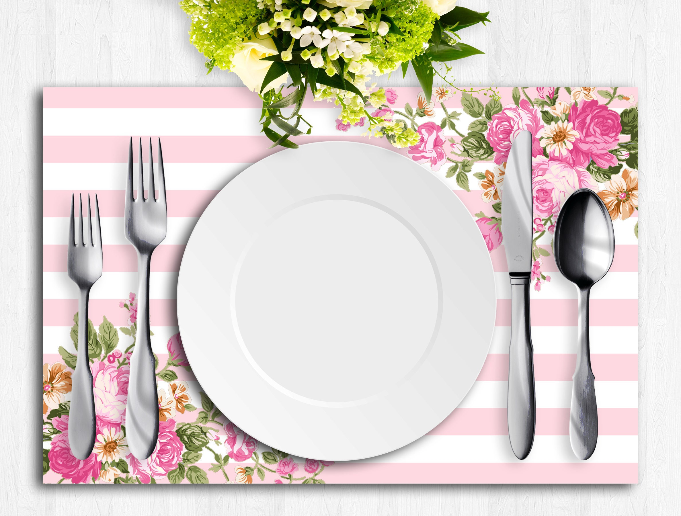 Pink Paper Placemat Printable Placemat Bridal Wedding Etsy