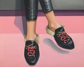 2a8f853d3 Woman wearing Gucci Princetown Snake Fur slides acrylic painting - Designer  Shoe painting